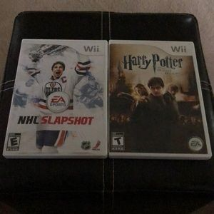 Two Wii games. Harry Potter and NHL Slapshot.